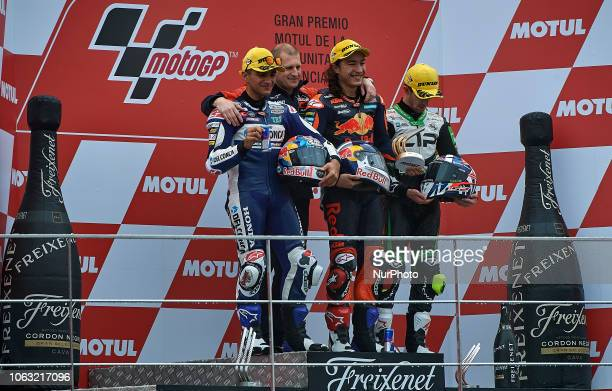 Jorge Martin of Spain and Del Conca Gresini Moto3 Aki Ajo Can Oncu of Turkey and Red Bull KTM Ajo John Mcphee of Great Britain and CipGreen Power KTM...