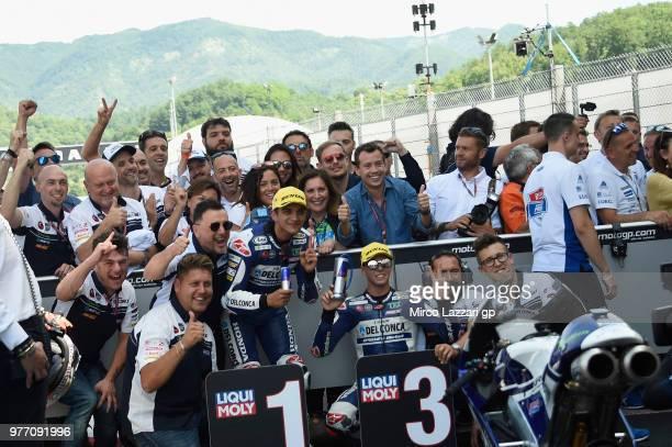 Jorge Martin of Spain and Del Conca Gresini Moto3 and Fabio Di Giannantonio of Italy and Del Conca Gresini Moto3 celebrate the victory and third...