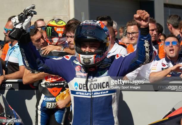 Jorge Martin of Spain and Del Conca Gresini Moto3 celebrates after the Moto3 race of the MotoGP Grand Prix of Aragon at Motorland Aragon Circuit on...