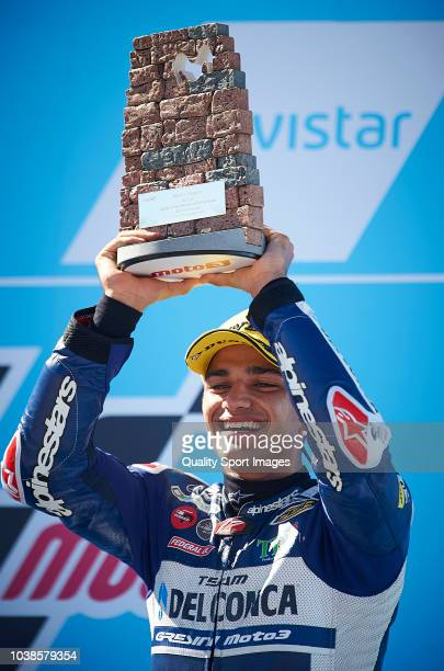 Jorge Martin of Spain and Del Conca Gresini Moto3 celebrates at the podium after the Moto3 race of the MotoGP Grand Prix of Aragon at Motorland...