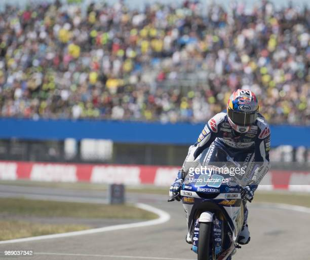 Jorge Martin of Spain and Del Conca Gresini Moto3 celebrates the victory at the end of the Moto3 race during the MotoGP Netherlands Race on July 1...