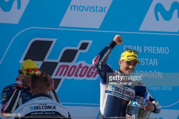 Jorge Martin of Spain and Del Conca Gresini Moto3 celebrates the victory on the podium at the ebnd of the Moto3 race during the MotoGP of Aragon Race...