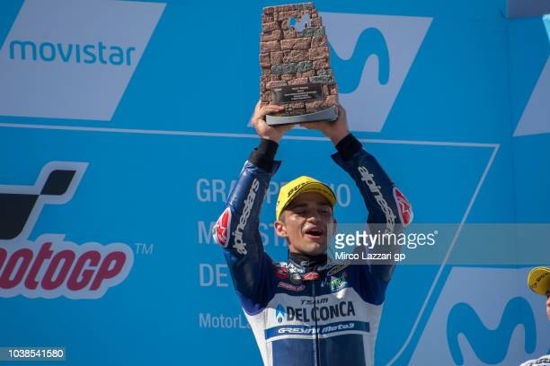 Jorge Martin of Spain and Del Conca Gresini Moto3 celebrates the victory on the podium at the end of the Moto3 race during the MotoGP of Aragon Race...