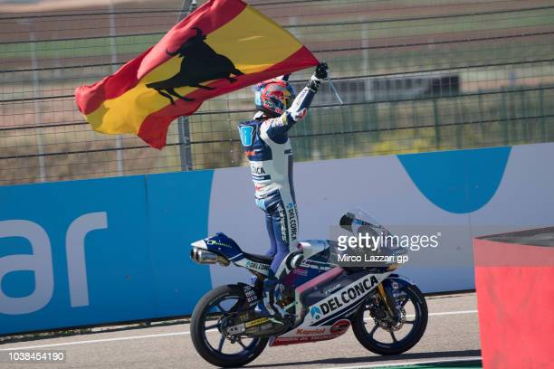 Jorge Martin of Spain and Del Conca Gresini Moto3 celebrates the victory with flag at the end of the Moto3 race during the MotoGP of Aragon Race at...