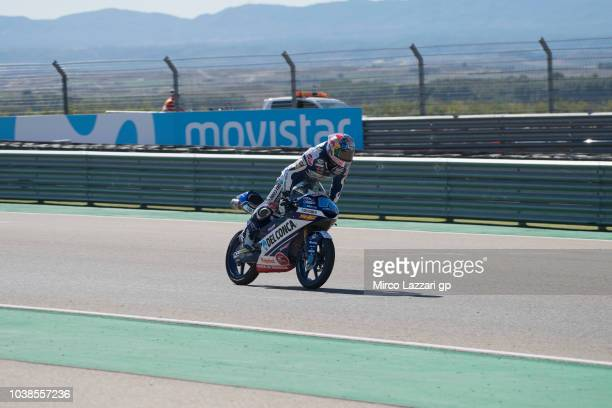 Jorge Martin of Spain and Del Conca Gresini Moto3 cuts the finish lane and celebrates the victory at the end of the Moto3 race during the MotoGP of...