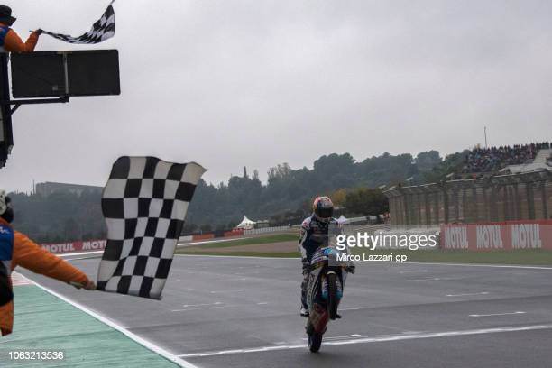 Jorge Martin of Spain and Del Conca Gresini Moto3 cuts the finish lane and celebrates the second place at the end of the Moto3 race during the MotoGP...