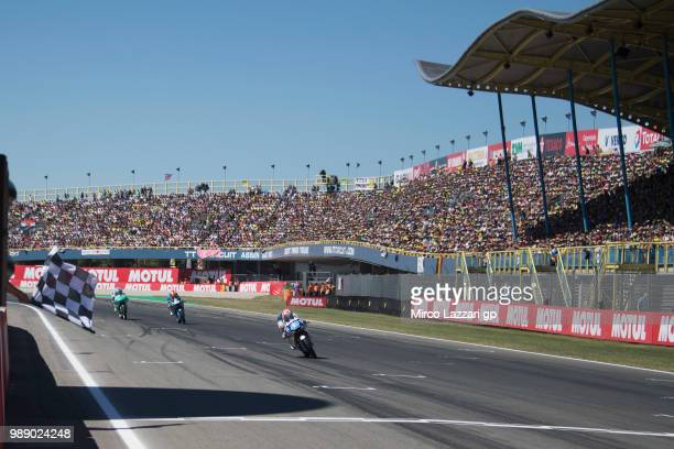 Jorge Martin of Spain and Del Conca Gresini Moto3 cuts the finish lane and celebrates the victory at the end of the Moto3 race during the MotoGP...