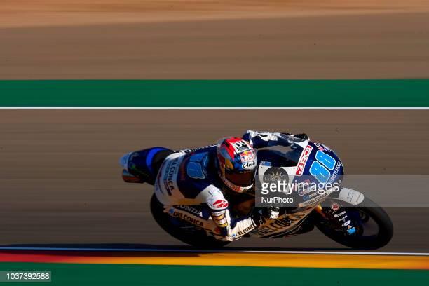 Jorge Martin of Spain and Del Conca Gresini Moto3 during free practice for the Gran Premio Movistar de Aragon of world championship of MotoGP at...