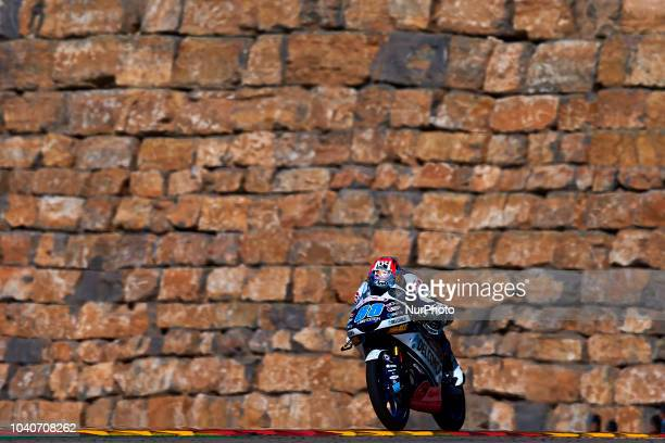Jorge Martin of Spain and Del Conca Gresini Moto3 during race day of the Gran Premio Movistar de Aragon of world championship of MotoGP at Motorland...
