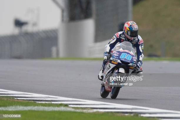 Jorge Martin of Spain and Del Conca Gresini Moto3 heads down a straight during the wurmup during the MotoGp Of Great Britain Race at Silverstone...