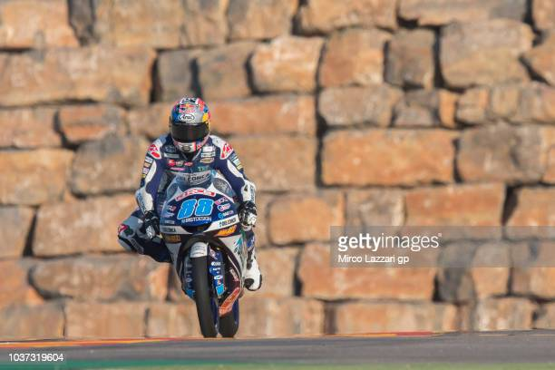 Jorge Martin of Spain and Del Conca Gresini Moto3 heads down a straight during the MotoGP of Aragon Free Practice at Motorland Aragon Circuit on...