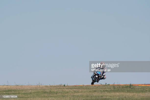 Jorge Martin of Spain and Del Conca Gresini Moto3 heads down a straight during the Moto3 race during the MotoGP of Aragon Race at Motorland Aragon...