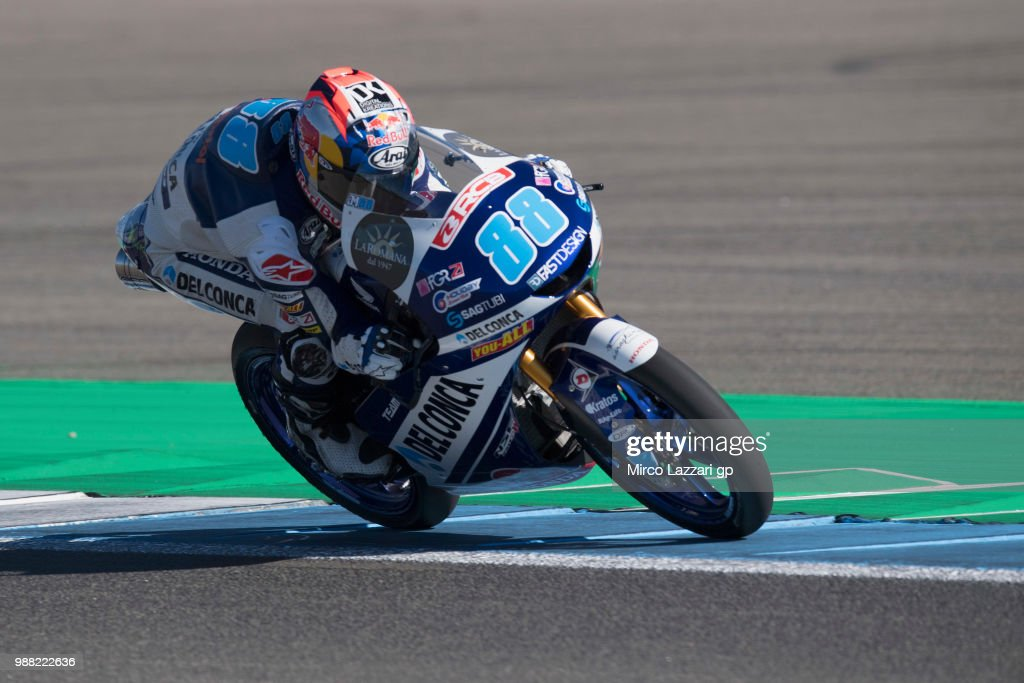 Jorge Martin of Spain and Del Conca Gresini Moto3 heads down a straight during the Qualifying practice during the MotoGP Netherlands - Qualifying on June 30, 2018 in Assen, Netherlands.