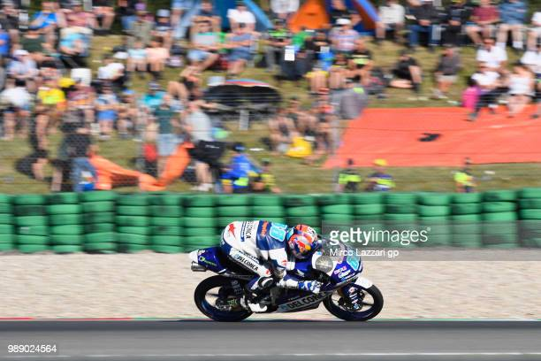 Jorge Martin of Spain and Del Conca Gresini Moto3 heads down a straight during the Moto3 race during the MotoGP Netherlands Race on July 1 2018 in...