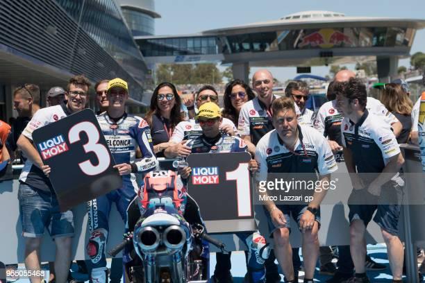 Jorge Martin of Spain and Del Conca Gresini Moto3 Honda and Fabio Di Giannantonio of Italy and Del Conca Gresini Moto3 Honda celebrate with team at...