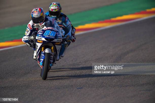 Jorge Martin of Spain and Del Conca Gresini Moto3 leads the field during the qualifying practice during the MotoGP of Aragon Qualifying at Motorland...