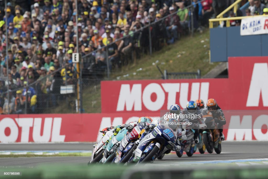 Jorge Martin of Spain and Del Conca Gresini Moto3 leads the field during the Moto3 Race during the MotoGP Netherlands - Race on June 25, 2017 in Assen, Netherlands.