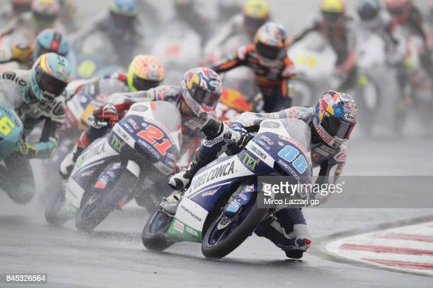 Jorge Martin of Spain and Del Conca Gresini Moto3 leads the field during the Moto3 Race during the MotoGP of San Marino Race at Misano World Circuit...