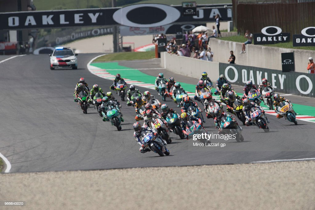 Jorge Martin of Spain and Del Conca Gresini Moto3 leads the field during the Moto3 race during the MotoGp of Italy - Race at Mugello Circuit on June 3, 2018 in Scarperia, Italy.