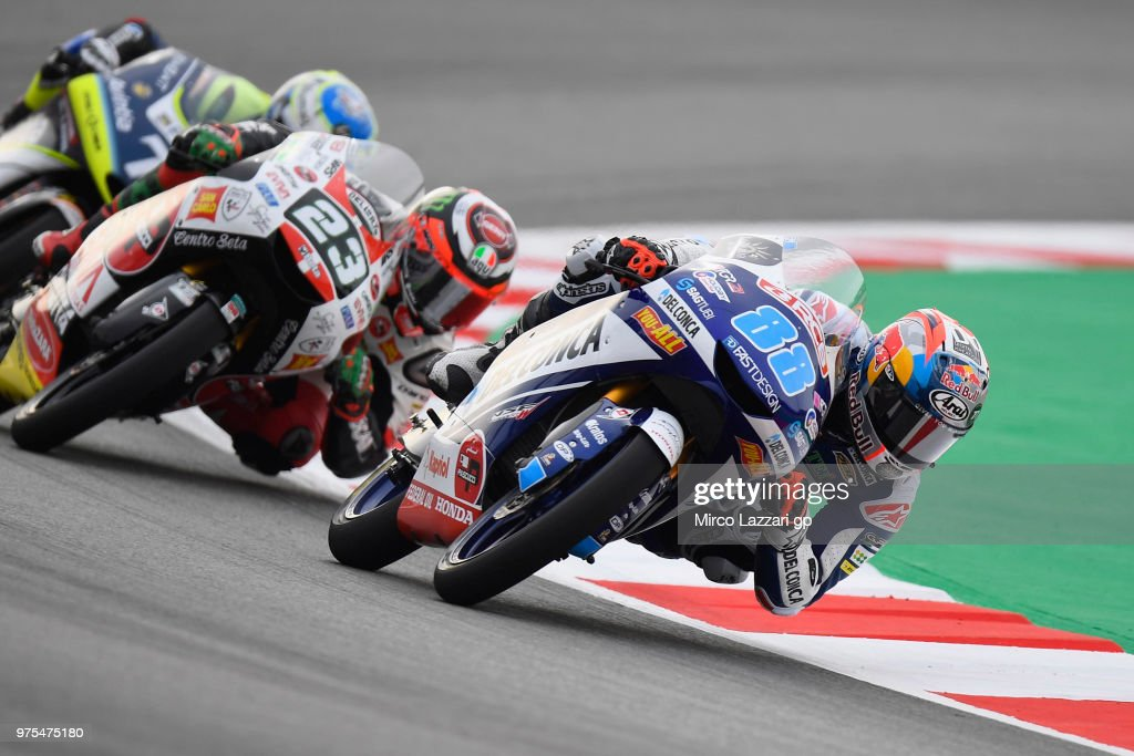 Jorge Martin of Spain and Del Conca Gresini Moto3 leads the field during the MotoGp of Catalunya - Free Practice at Circuit de Catalunya on June 15, 2018 in Montmelo, Spain.