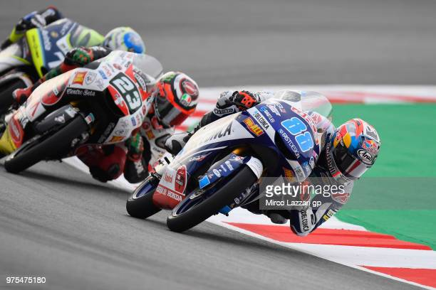 Jorge Martin of Spain and Del Conca Gresini Moto3 leads the field during the MotoGp of Catalunya Free Practice at Circuit de Catalunya on June 15...
