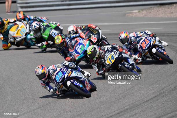 Jorge Martin of Spain and Del Conca Gresini Moto3 leads the field during the Moto3 race during the MotoGp of Germany Race at Sachsenring Circuit on...