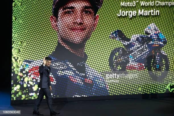 Jorge Martin of Spain and Del Conca Gresini Moto3 pole of poles of Moto3 during the FIM Awards Ceremony after the Gran Premio Motul de la Comunitat...