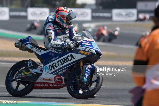 Jorge Martin of Spain and Del Conca Gresini Moto3 retired after crashed out during the MotoGP race during the MotoGp of France Race on May 20 2018 in...