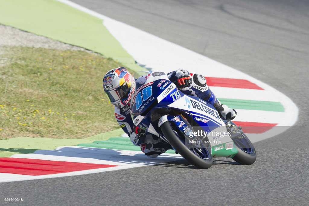 Jorge Martin of Spain and Del Conca Gresini Moto3 rounds the bend during the MotoGp of Italy - Qualifying at Mugello Circuit on June 3, 2017 in Scarperia, Italy.