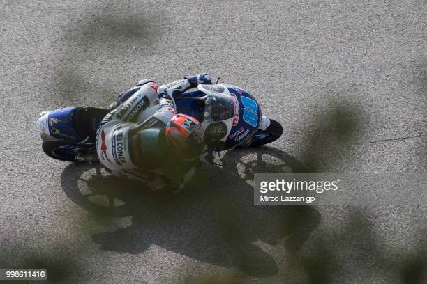 Jorge Martin of Spain and Del Conca Gresini Moto3 rounds the bend during the qualifying practice during the MotoGp of Germany Qualifying at...