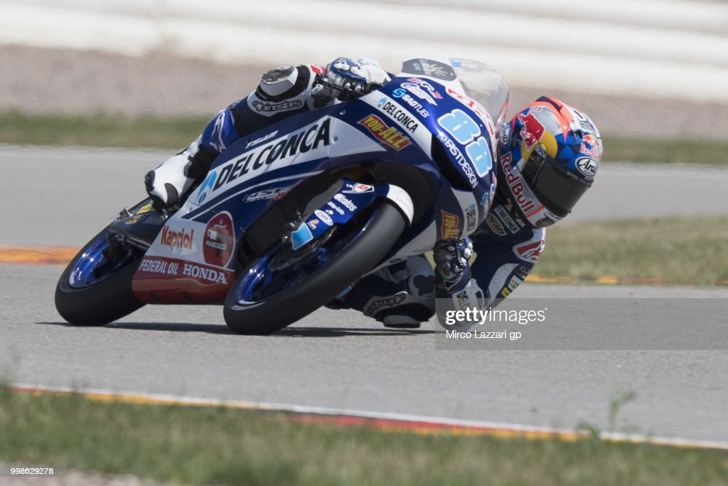 Jorge Martin of Spain and Del Conca Gresini Moto3 rounds the bend during the qualifying practice during the MotoGp of Germany - Qualifying at Sachsenring Circuit on July 14, 2018 in Hohenstein-Ernstthal, Germany.