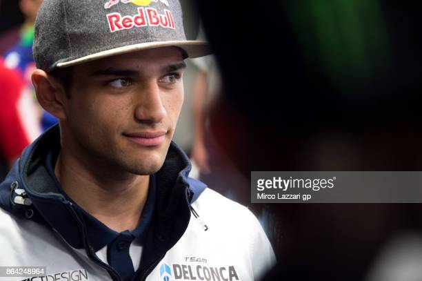 Jorge Martin of Spain and Del Conca Gresini Moto3 smiles during the press conference at the end of the Moto3 qualifying practice during qualifying...