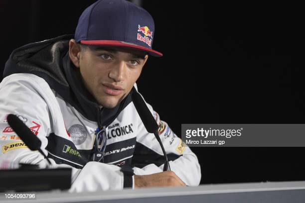 Jorge Martin of Spain and Del Conca Gresini Moto3 speaks during the press conference at the end of the MotoGP qualifying during qualifying for the...