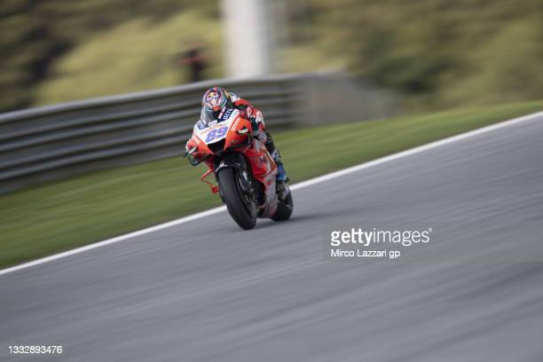 Jorge Martin of Spain and Pramac Racing heads down a straight during the MotoGP of Styria - Qualifying at Red Bull Ring on August 07, 2021 in...