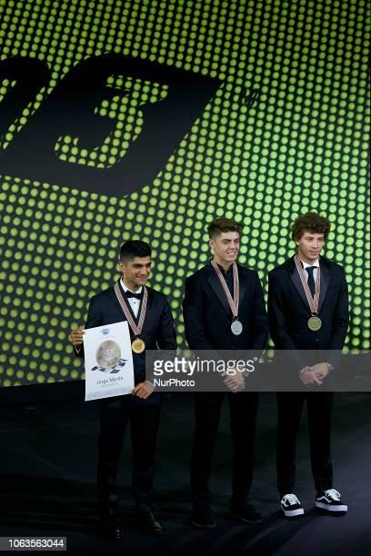 Jorge Martin World ChampionFabio Di Giannantonio runnerup and Marco Bezzecchi third of Moto3 during the FIM Awards Ceremony after the Gran Premio...