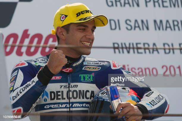 Jorge Martn of Del Conca Gresini celebrate the second place of the Moto 3 race of the OCTO Grand Prix of San Marino e della Riviera di Rimini at...