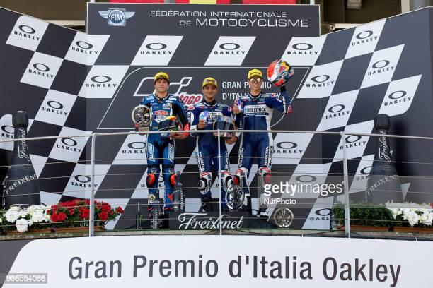 Jorge Martn of Del Conca Gresini Marco Bezzecchi of PruestlGP and Fabio Di Giannantonio of Del Conca Gresini composte the podium of the Moto 3 Oakley...