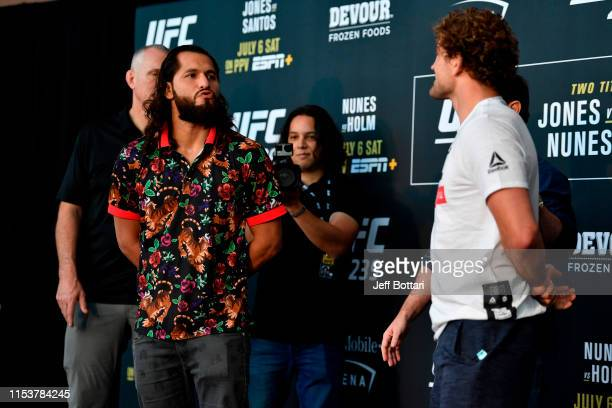 Jorge Masvidal and Ben Askren face off during the UFC 239 Ultimate Media Day at TMobile Arena on July 4 2019 in Las Vegas Nevada