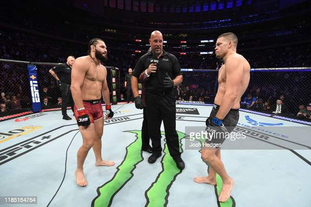 Jorge Masvidal and Nate Diaz face off before their welterweight bout for the BMF title during the UFC 244 event at Madison Square Garden on November...