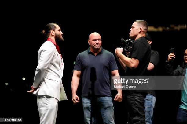 Jorge Masvidal and Nate Diaz face off during a press conference ahead of UFC 244 at The Rooftop at Pier 17 on September 19 2019 in New York City