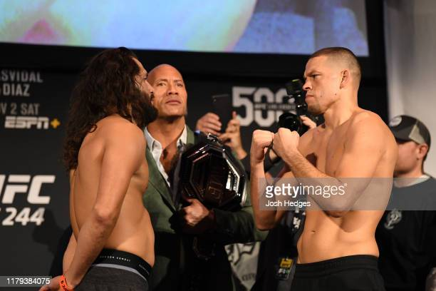 Jorge Masvidal and Nate Diaz face off during the UFC 244 weigh-ins at the Hulu Theatre at Madison Square Garden on November 1, 2019 in New York, New...
