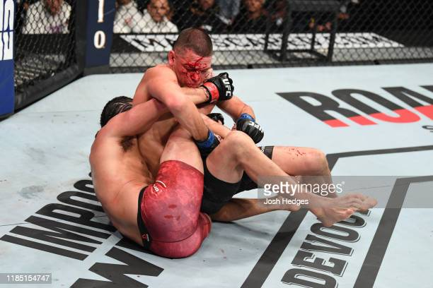 Jorge Masvidal and Nate Diaz grapple in their welterweight bout for the BMF title during the UFC 244 event at Madison Square Garden on November 02,...