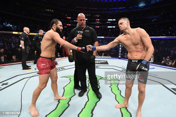 Jorge Masvidal and Nate Diaz touch gloves before their welterweight bout for the BMF title during the UFC 244 event at Madison Square Garden on...