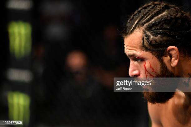 Jorge Masvidal battles Kamaru Usman in their UFC welterweight championship fight during the UFC 251 event at Flash Forum on UFC Fight Island on July...