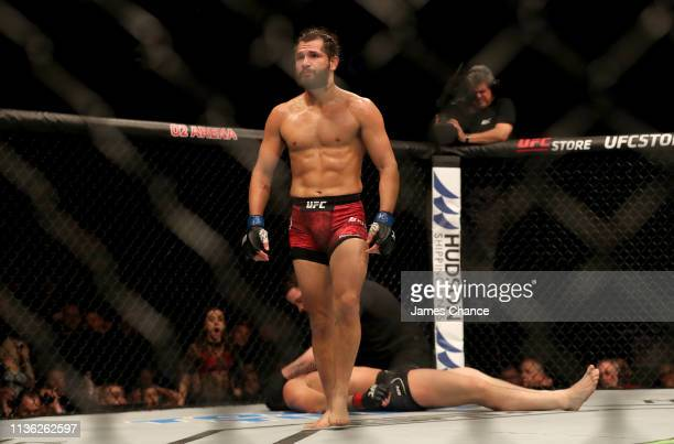 Jorge Masvidal celebrates after knocking out Darren Till during the Welterweight bout between Darren Till and Jorge Masvidal at The O2 Arena on March...