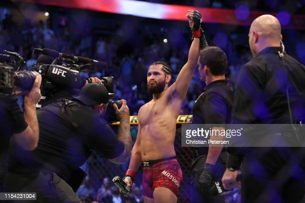 Jorge Masvidal celebrates his win over Ben Askren in their welterweight fight during the UFC 239 event at TMobile Arena on July 6 2019 in Las Vegas...
