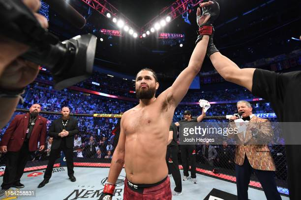 Jorge Masvidal celebrates his win over Ben Askren in their welterweight fight during the UFC 239 event at T-Mobile Arena on July 6, 2019 in Las...