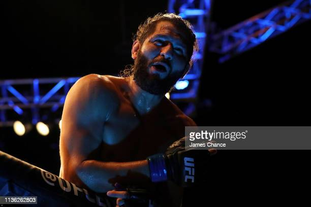 Jorge Masvidal celebrates knocking out Darren Till during the Welterweight bout between Darren Till and Jorge Masvidal at The O2 Arena on March 16...