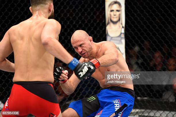 Jorge Masvidal drops Donald Cerrone in their welterweight bout during the UFC Fight Night event at the Pepsi Center on January 28 2017 in Denver...