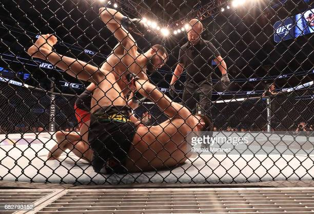 Jorge Masvidal fights Demian Maia in their Welterweight bout during UFC 211 at American Airlines Center on May 13 2017 in Dallas Texas